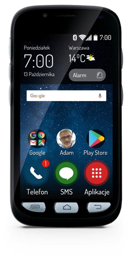 Przód smartfona MAXCOM dla seniorów.